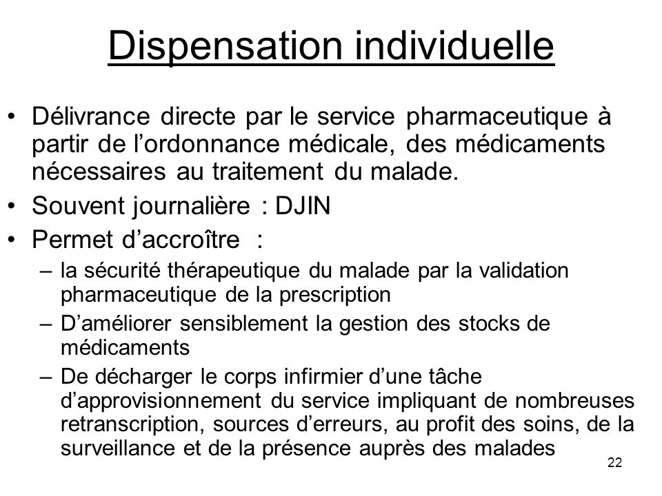 Dispensation individuelle