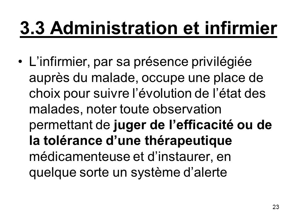 3.3 Administration et infirmier