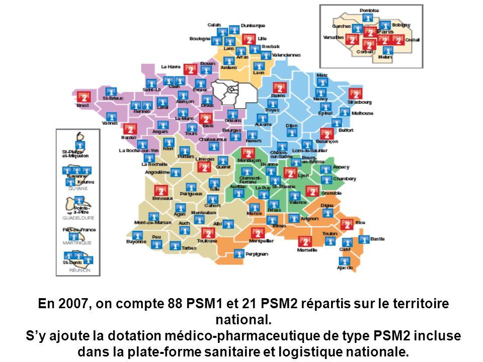 En 2007, on compte 88 PSM1 et 21 PSM2 répartis sur le territoire national.