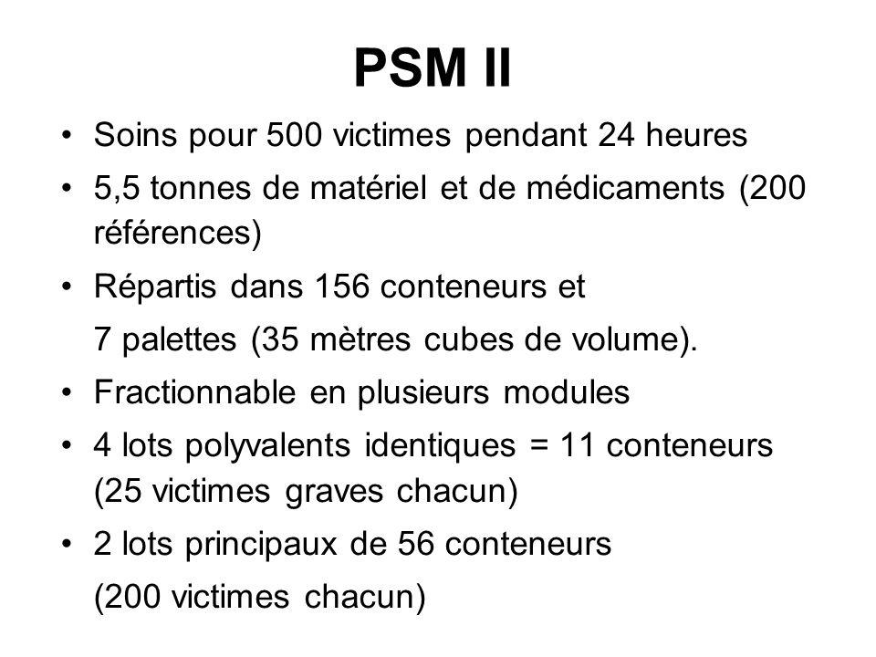 PSM II Soins pour 500 victimes pendant 24 heures