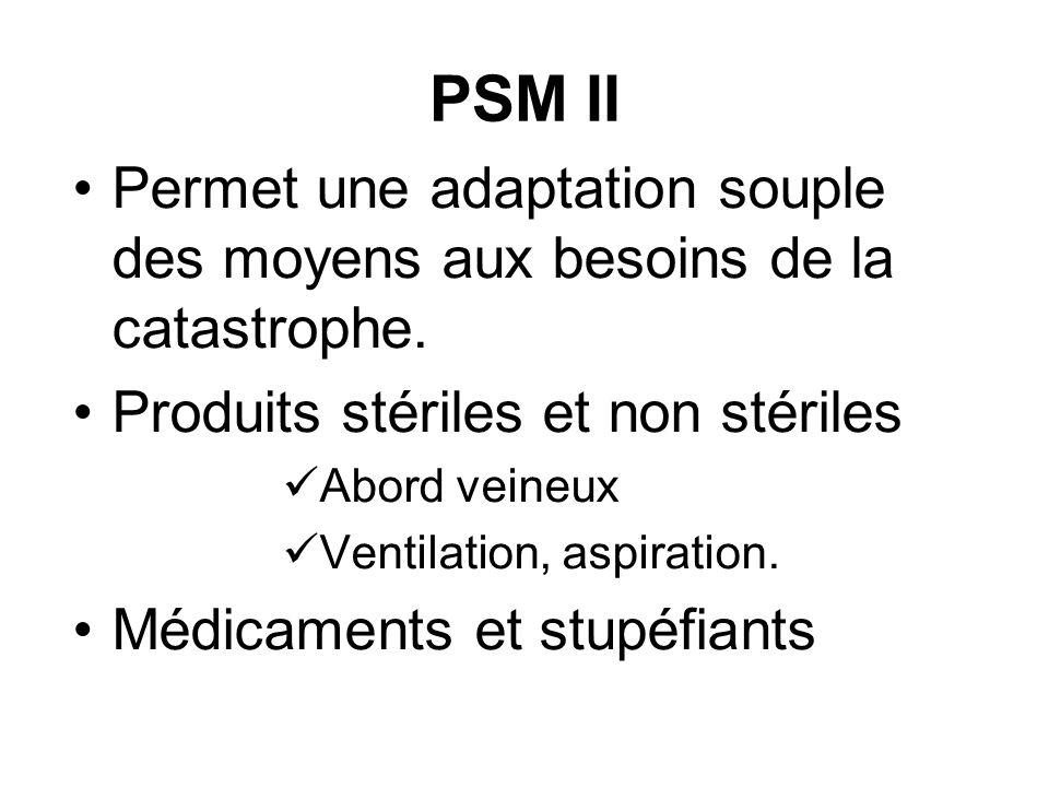 PSM II Permet une adaptation souple des moyens aux besoins de la catastrophe. Produits stériles et non stériles.