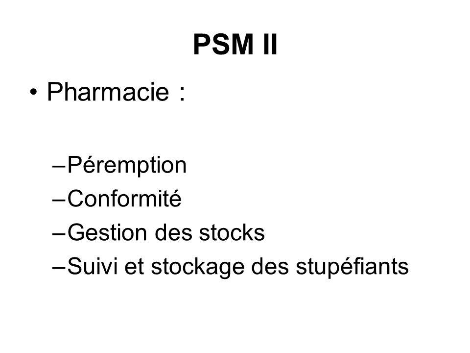 PSM II Pharmacie : Péremption Conformité Gestion des stocks