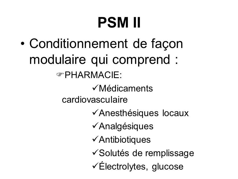 PSM II Conditionnement de façon modulaire qui comprend : PHARMACIE:
