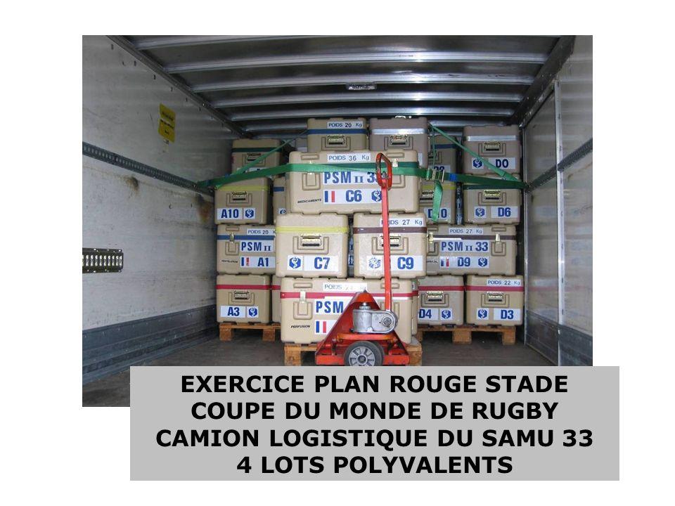 EXERCICE PLAN ROUGE STADE CAMION LOGISTIQUE DU SAMU 33