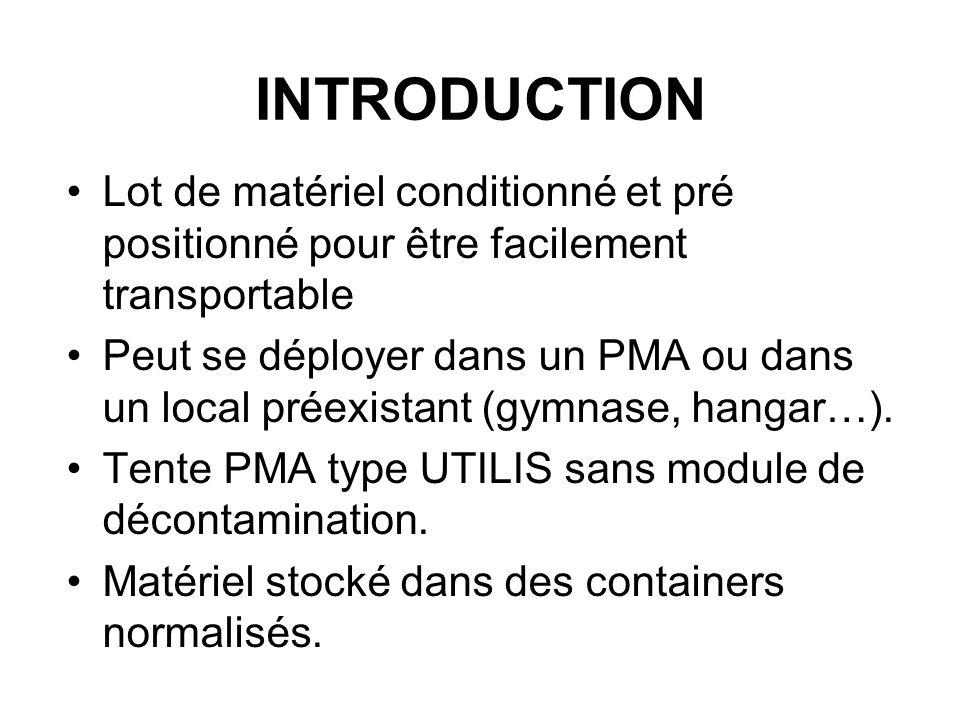 INTRODUCTION Lot de matériel conditionné et pré positionné pour être facilement transportable.