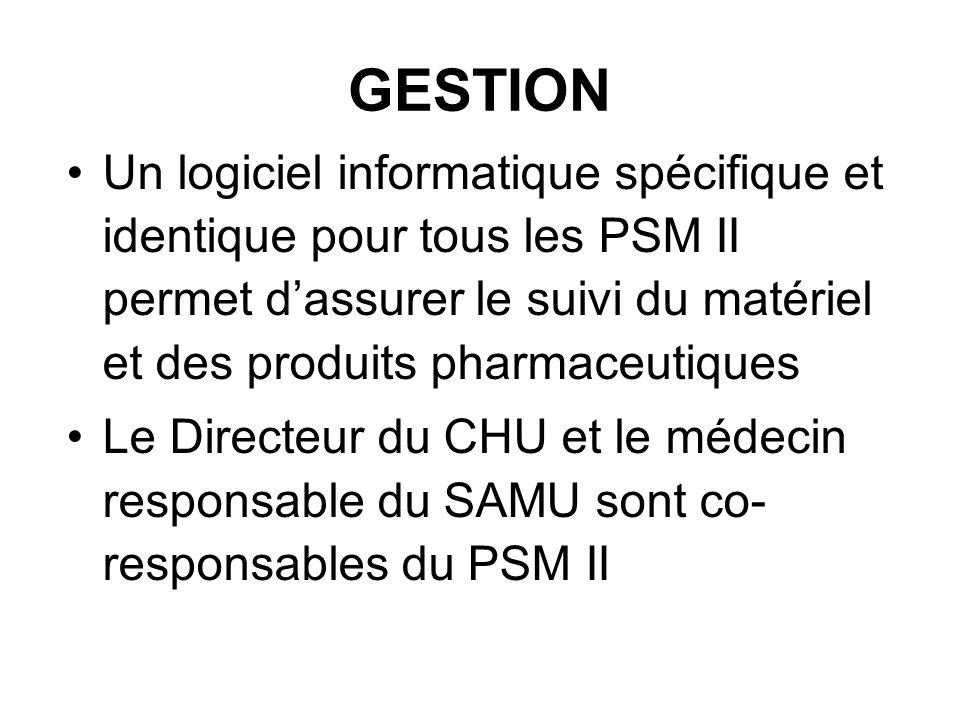 GESTION Un logiciel informatique spécifique et identique pour tous les PSM II permet d'assurer le suivi du matériel et des produits pharmaceutiques.