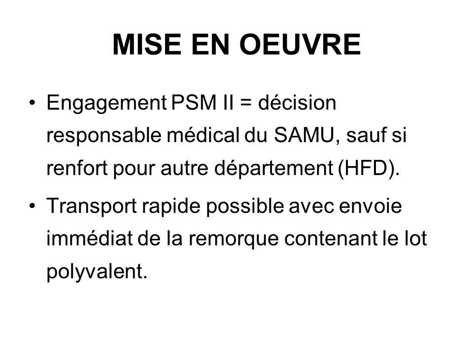 MISE EN OEUVRE Engagement PSM II = décision responsable médical du SAMU, sauf si renfort pour autre département (HFD).