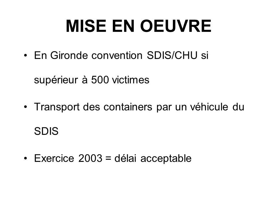 MISE EN OEUVRE En Gironde convention SDIS/CHU si supérieur à 500 victimes. Transport des containers par un véhicule du SDIS.