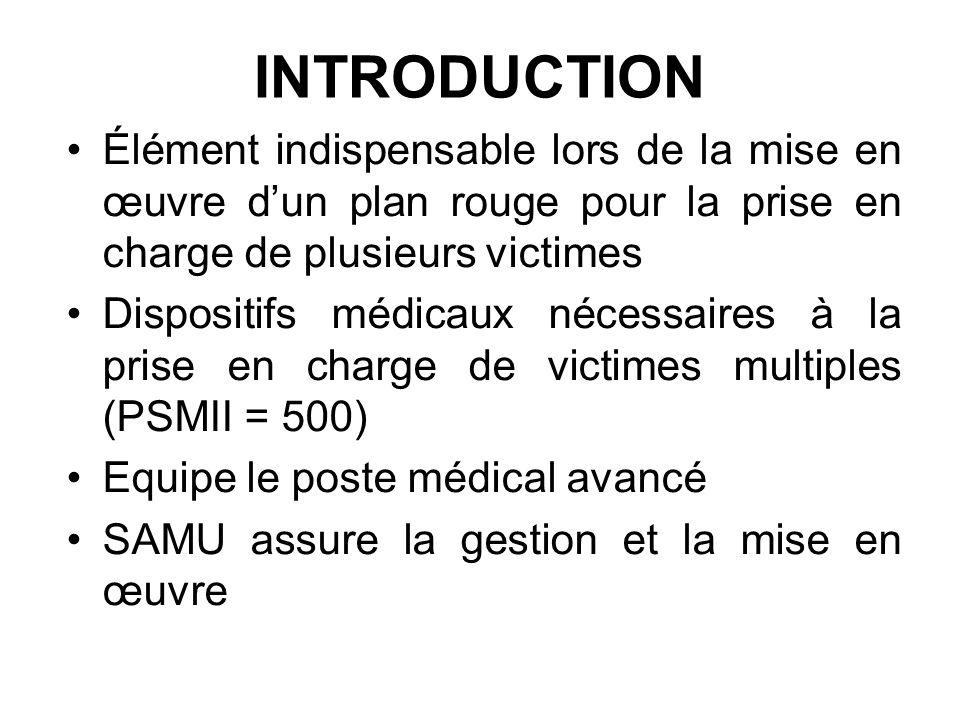 INTRODUCTION Élément indispensable lors de la mise en œuvre d'un plan rouge pour la prise en charge de plusieurs victimes.