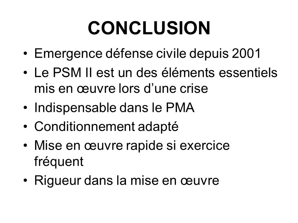 CONCLUSION Emergence défense civile depuis 2001