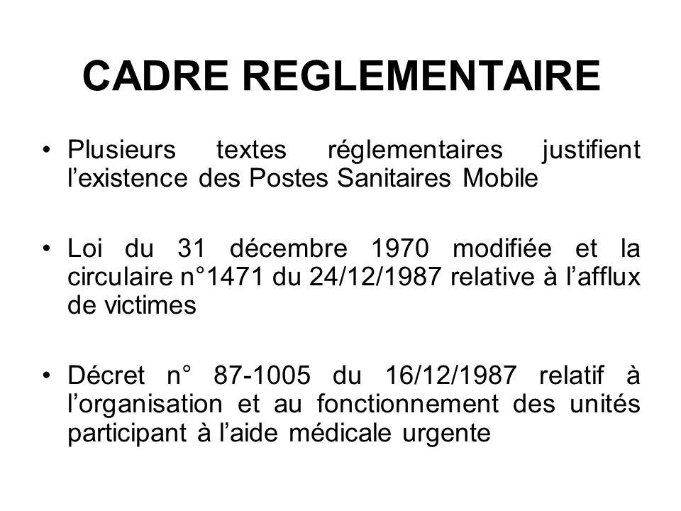 CADRE REGLEMENTAIRE Plusieurs textes réglementaires justifient l'existence des Postes Sanitaires Mobile.