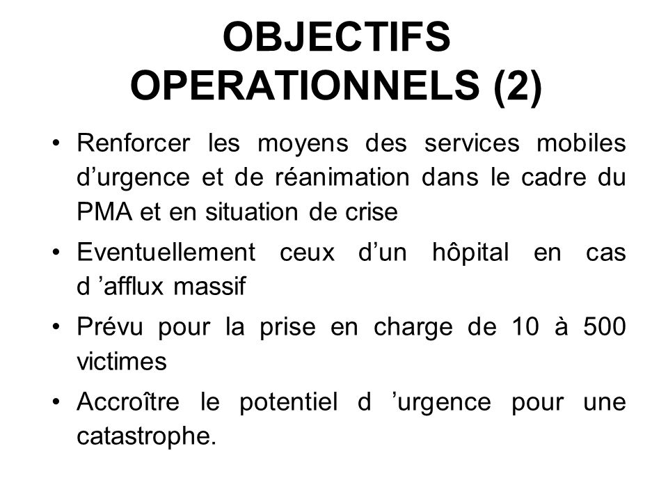 OBJECTIFS OPERATIONNELS (2)