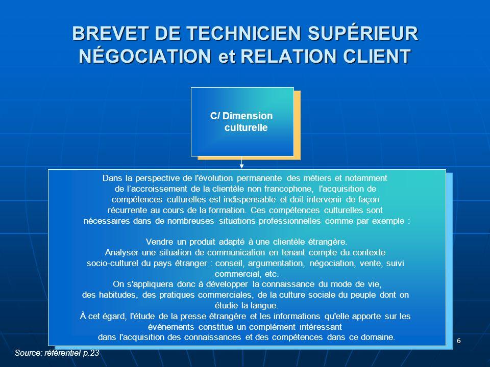 BREVET DE TECHNICIEN SUPÉRIEUR NÉGOCIATION et RELATION CLIENT