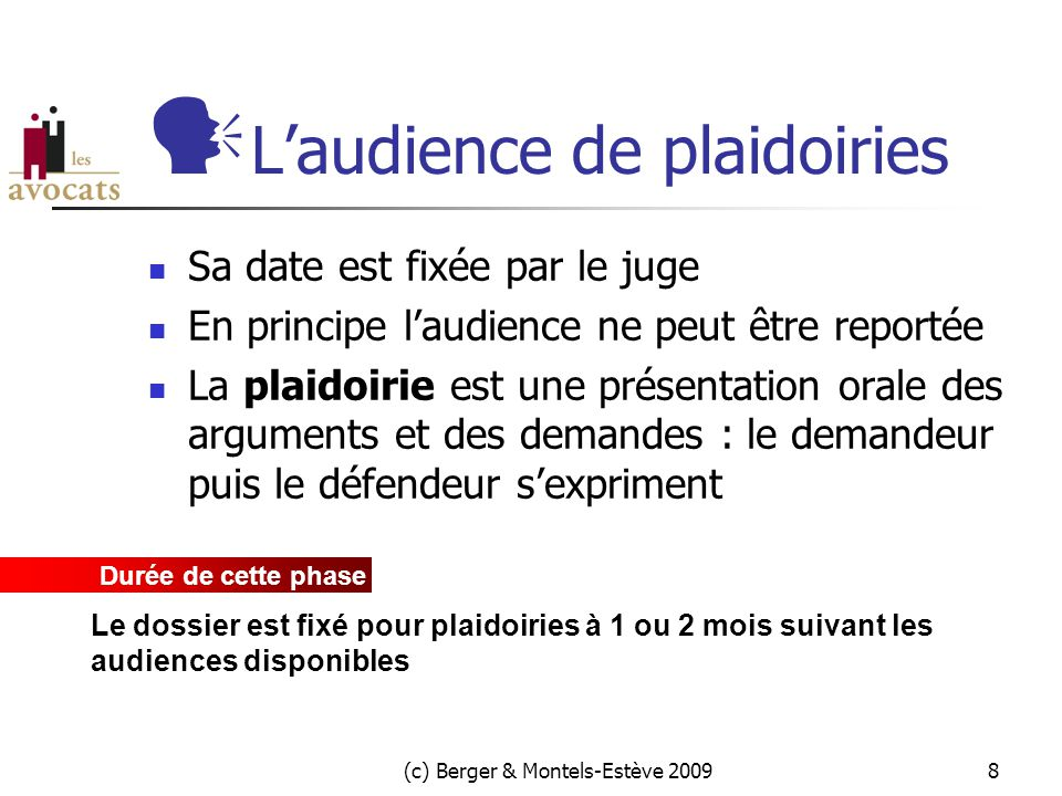 L'audience de plaidoiries