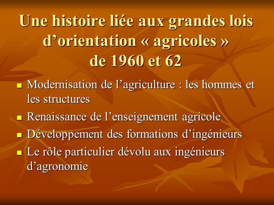 Une histoire liée aux grandes lois d'orientation « agricoles » de 1960 et 62