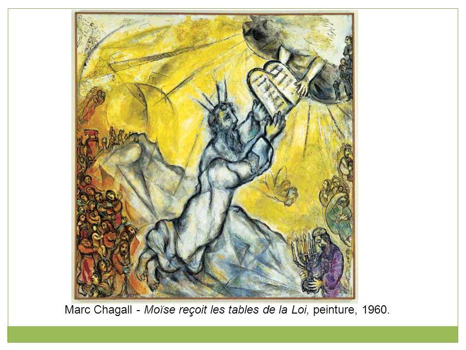 Marc Chagall - Moïse reçoit les tables de la Loi, peinture, 1960.