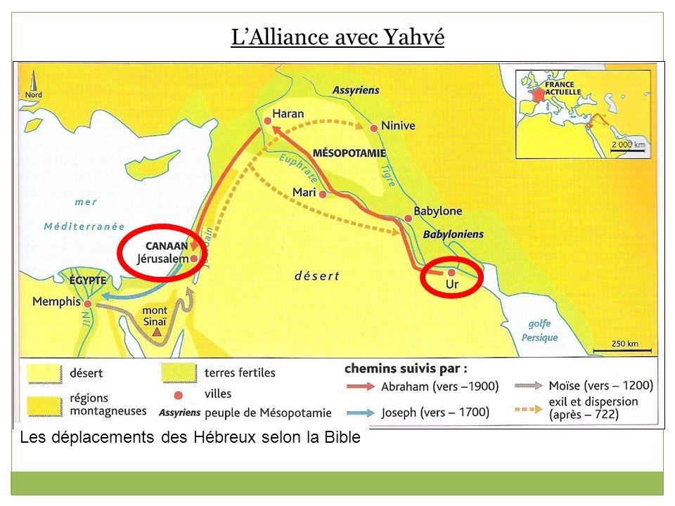 L'Alliance avec Yahvé Les déplacements des Hébreux selon la Bible
