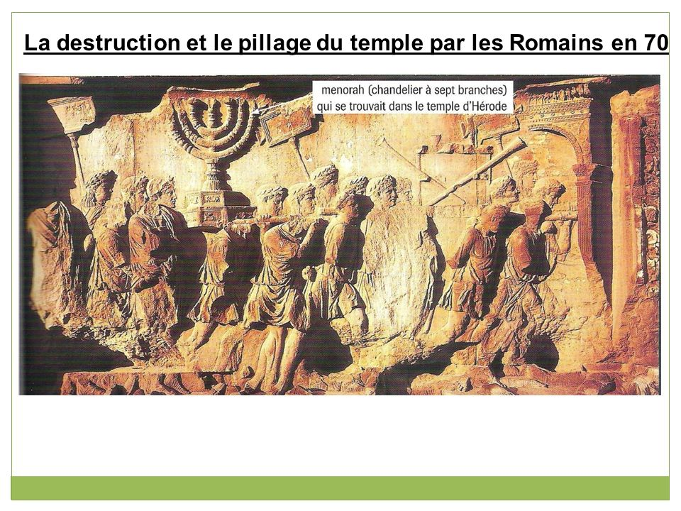 La destruction et le pillage du temple par les Romains en 70