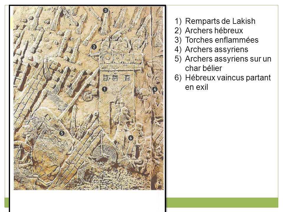 Remparts de Lakish Archers hébreux. Torches enflammées. Archers assyriens. Archers assyriens sur un char bélier.