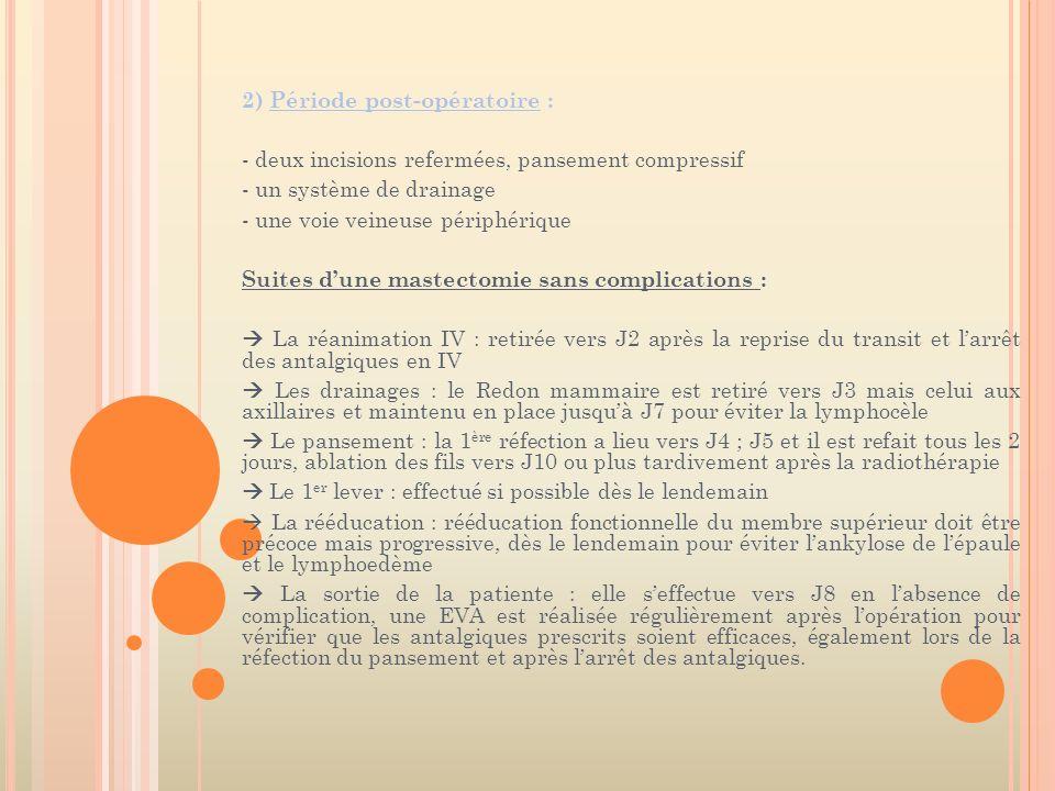 2) Période post-opératoire :