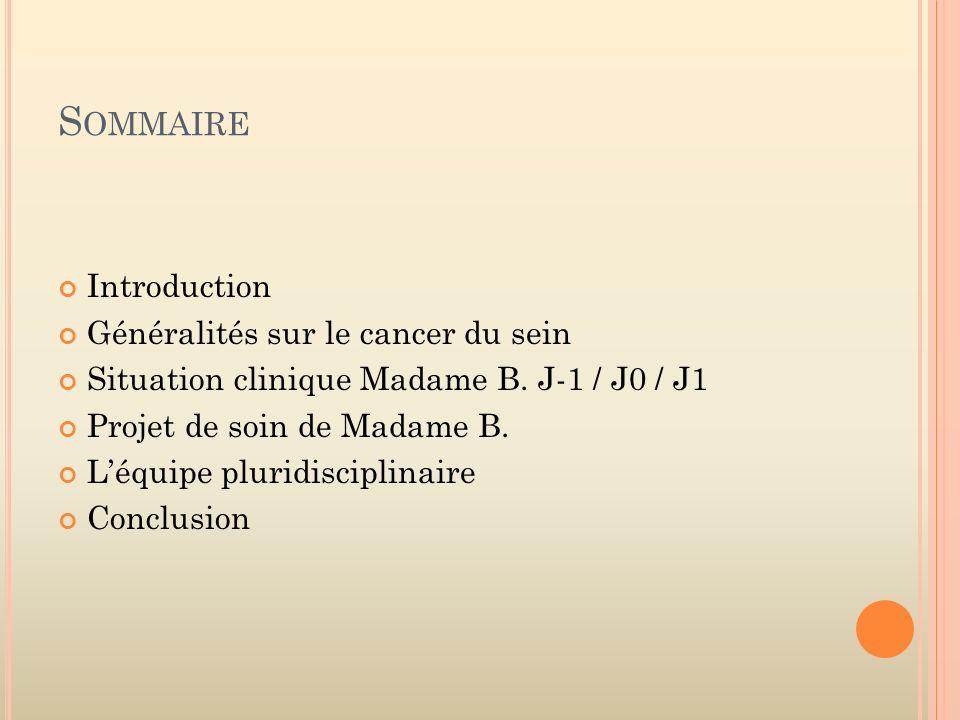 Sommaire Introduction Généralités sur le cancer du sein