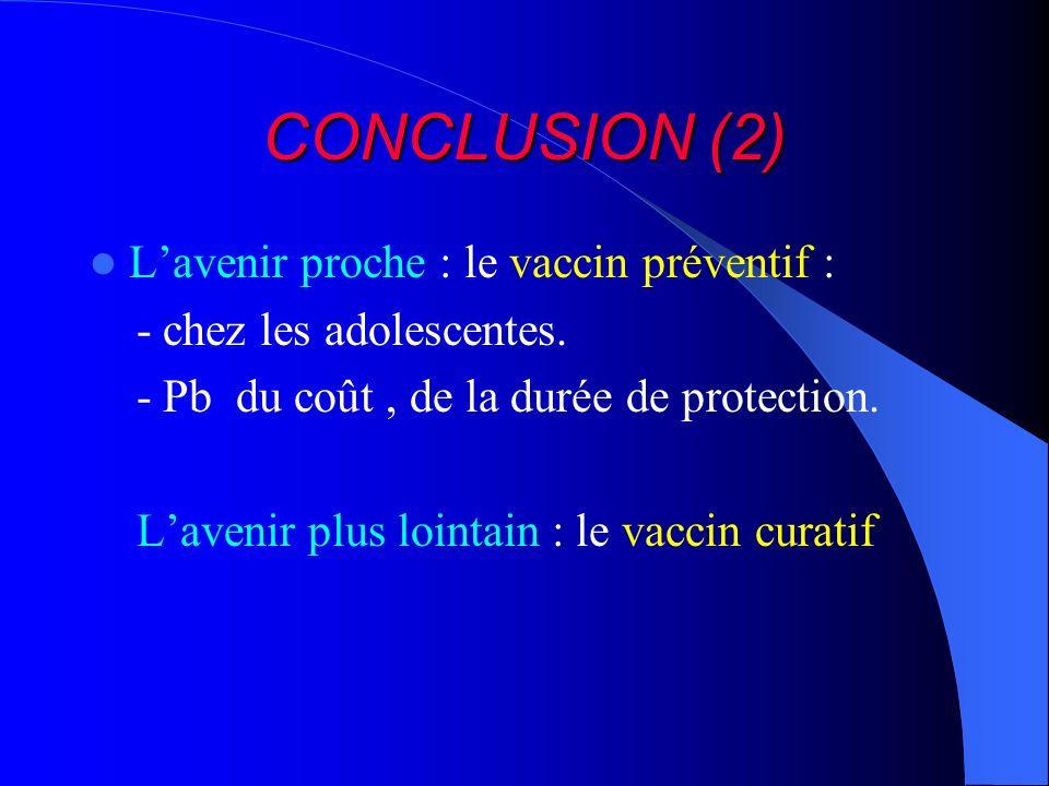 CONCLUSION (2) L'avenir proche : le vaccin préventif :