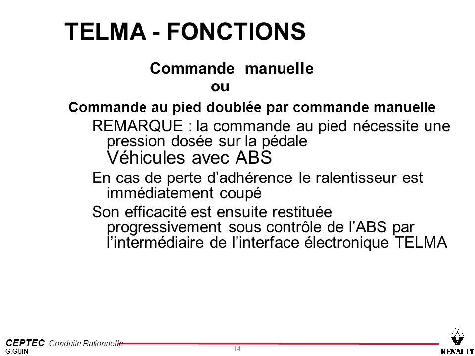 TELMA - FONCTIONS Commande manuelle ou