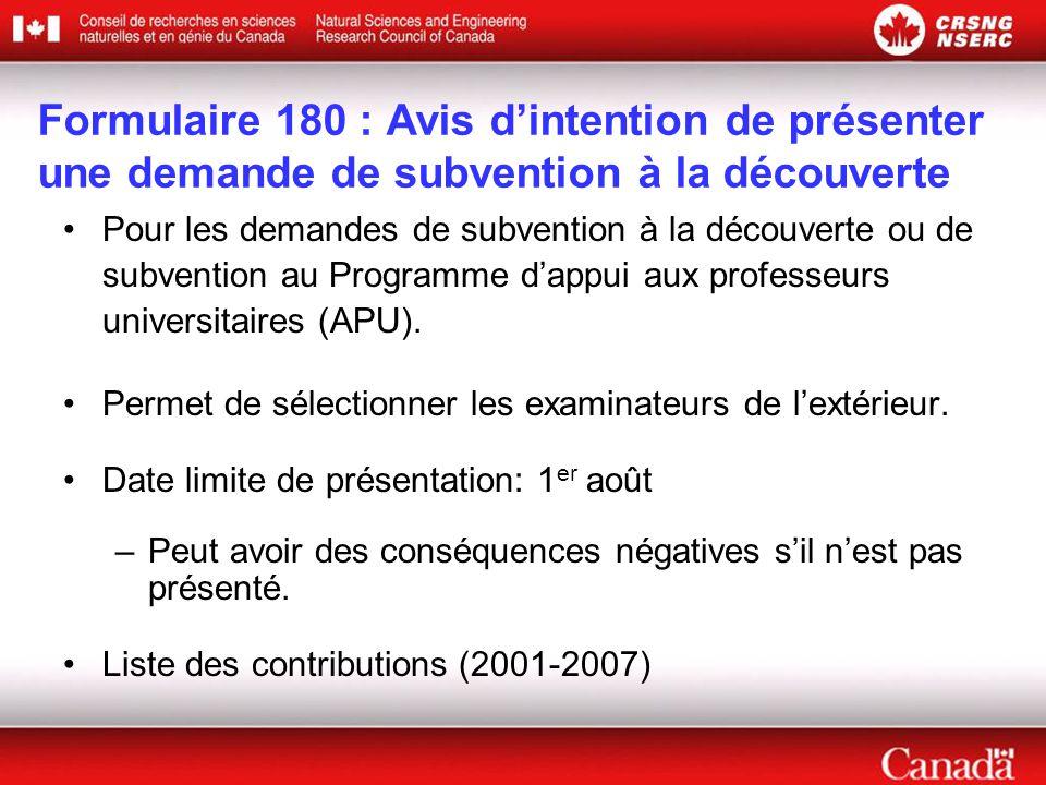 Formulaire 180 : Avis d'intention de présenter une demande de subvention à la découverte