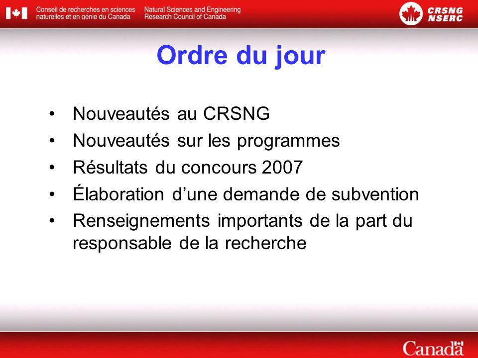 Ordre du jour Nouveautés au CRSNG Nouveautés sur les programmes