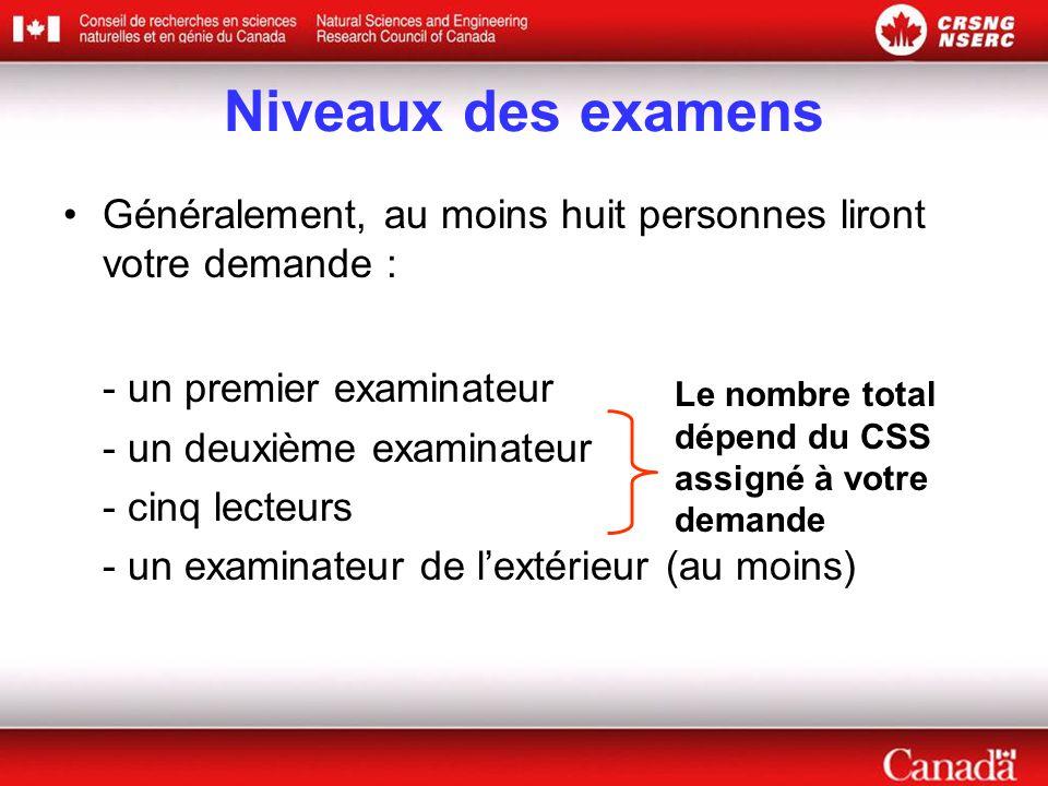 Niveaux des examens - un premier examinateur