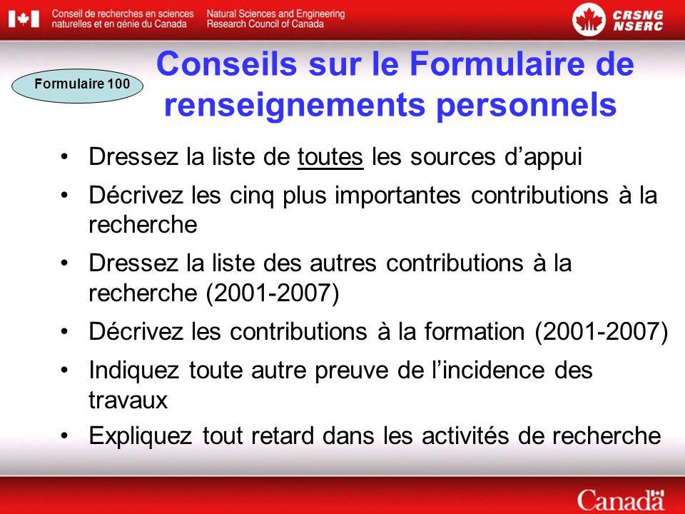 Conseils sur le Formulaire de renseignements personnels