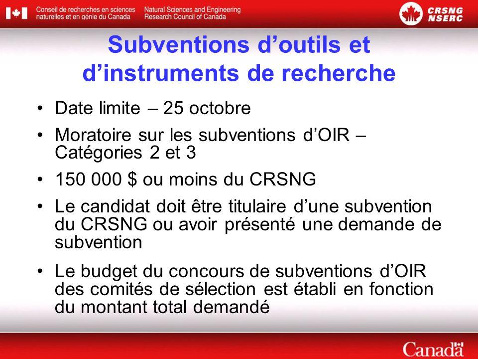 Subventions d'outils et d'instruments de recherche