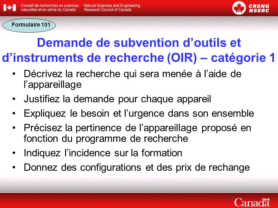 Formulaire 101 Demande de subvention d'outils et d'instruments de recherche (OIR) – catégorie 1.