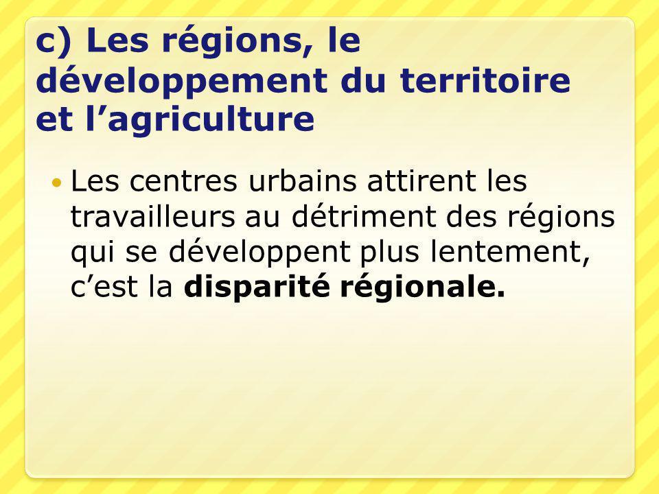c) Les régions, le développement du territoire et l'agriculture