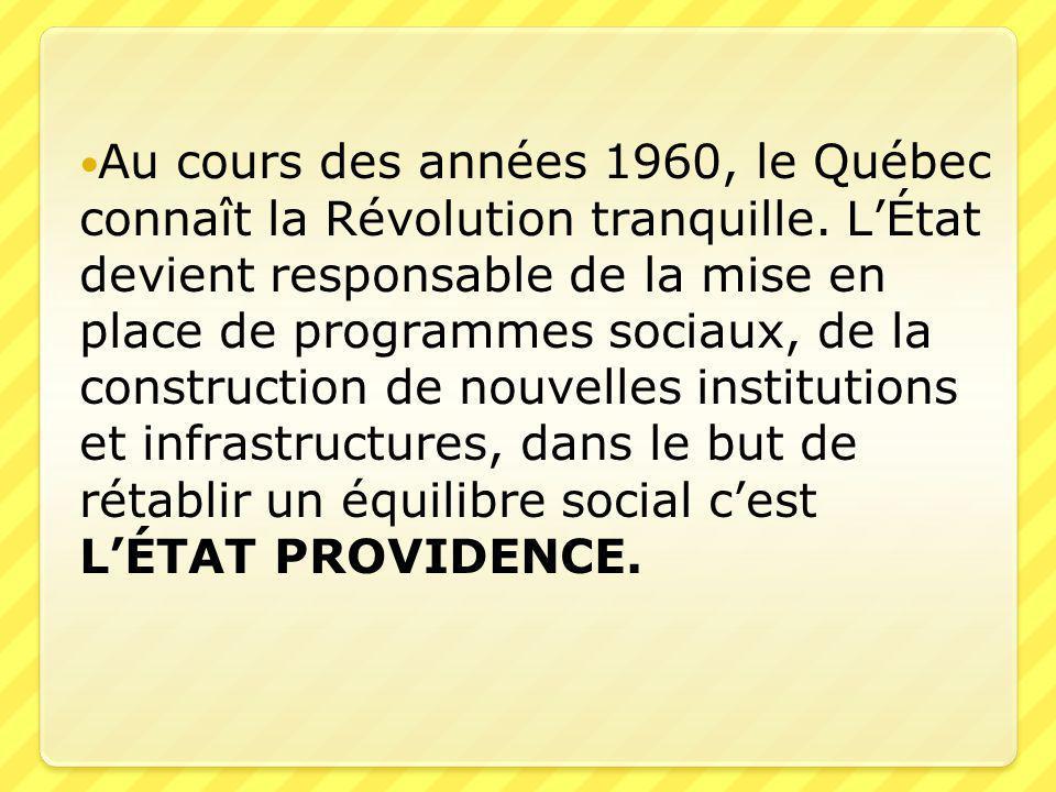 Au cours des années 1960, le Québec connaît la Révolution tranquille