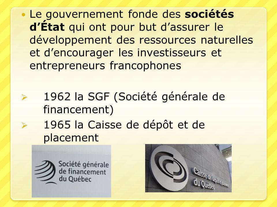 Le gouvernement fonde des sociétés d'État qui ont pour but d'assurer le développement des ressources naturelles et d'encourager les investisseurs et entrepreneurs francophones