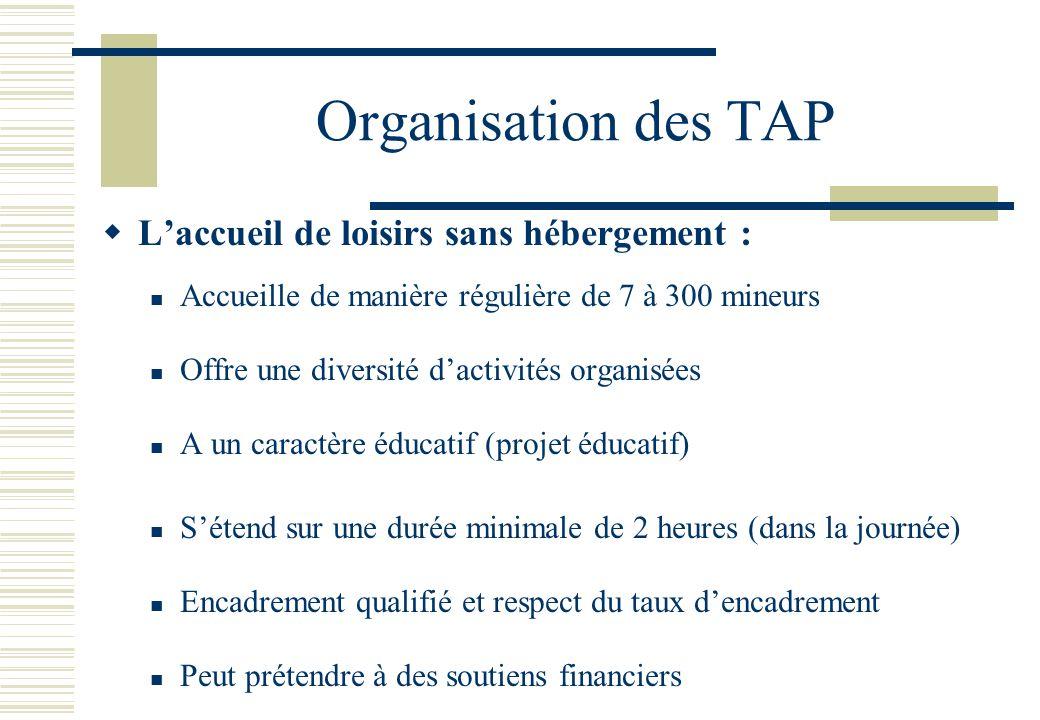 Organisation des TAP L'accueil de loisirs sans hébergement :