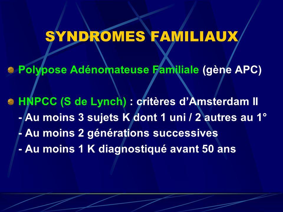 SYNDROMES FAMILIAUX Polypose Adénomateuse Familiale (gène APC)