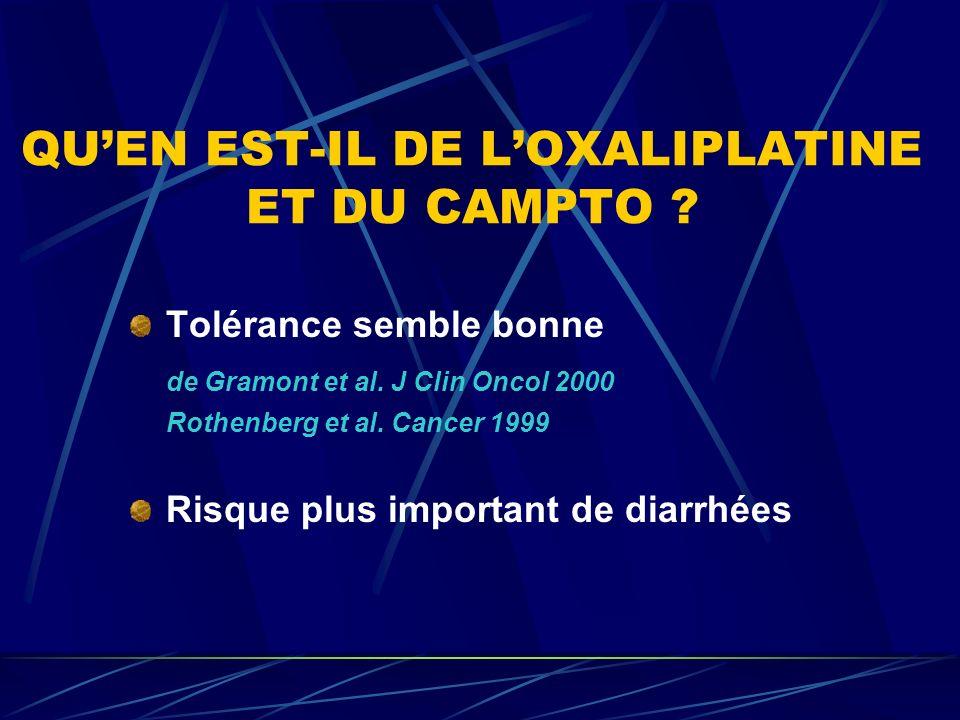 QU'EN EST-IL DE L'OXALIPLATINE ET DU CAMPTO