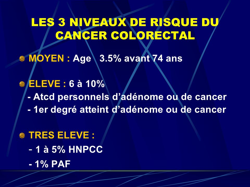 LES 3 NIVEAUX DE RISQUE DU CANCER COLORECTAL