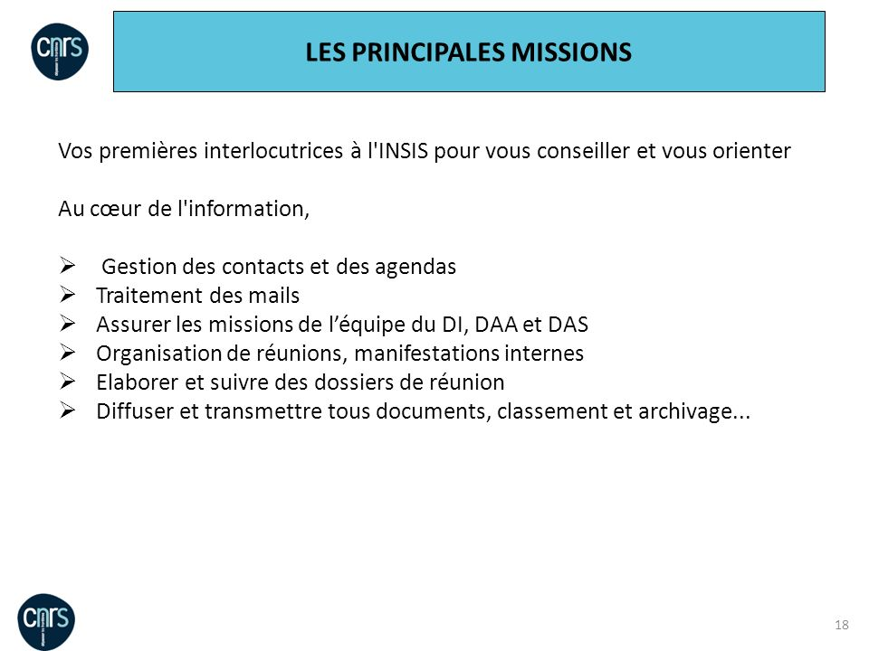 LES PRINCIPALES MISSIONS