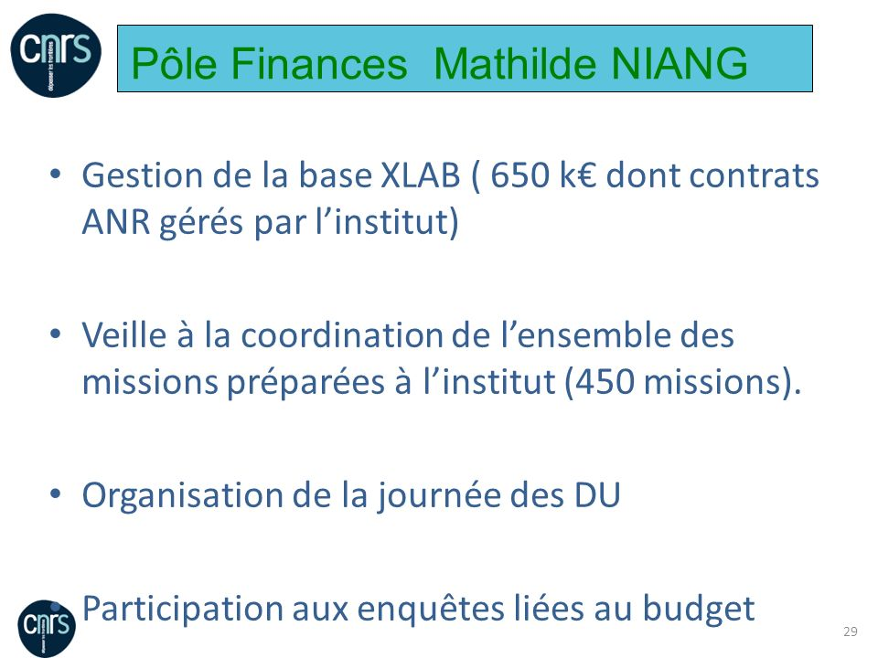 Pôle Finances Mathilde NIANG