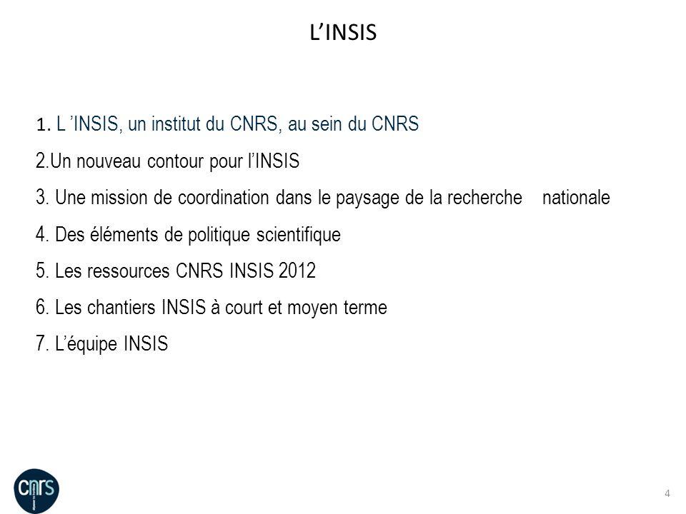 L'INSIS L 'INSIS, un institut du CNRS, au sein du CNRS