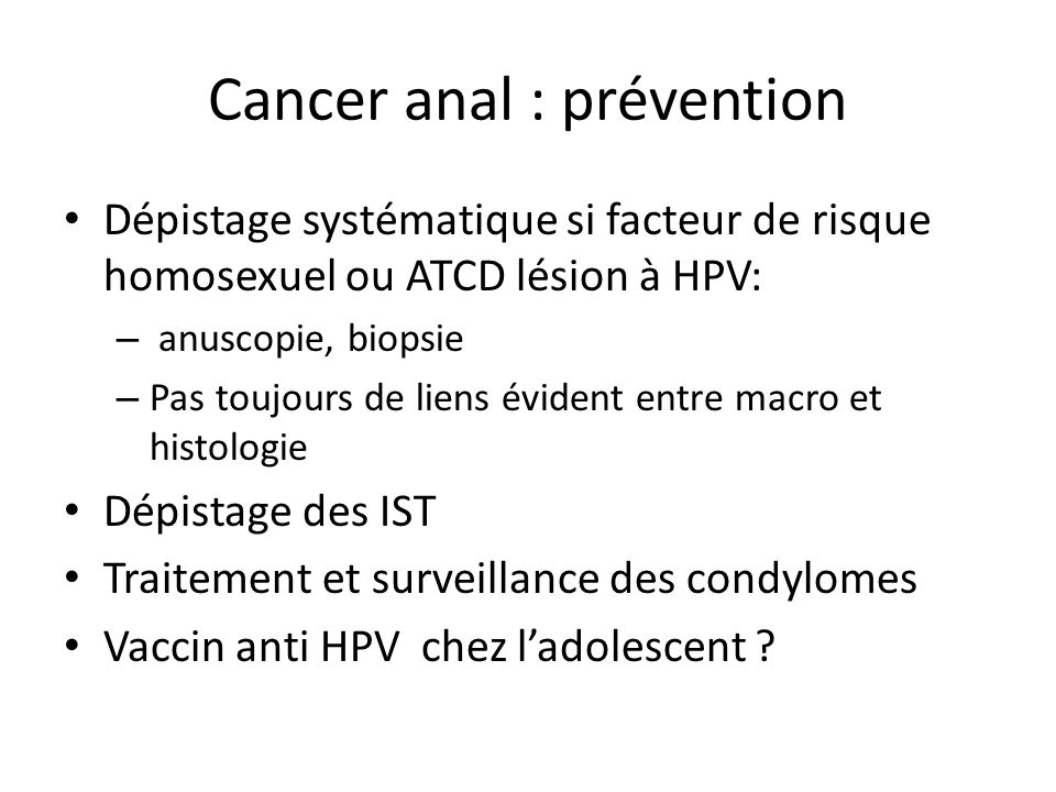 Cancer anal : prévention