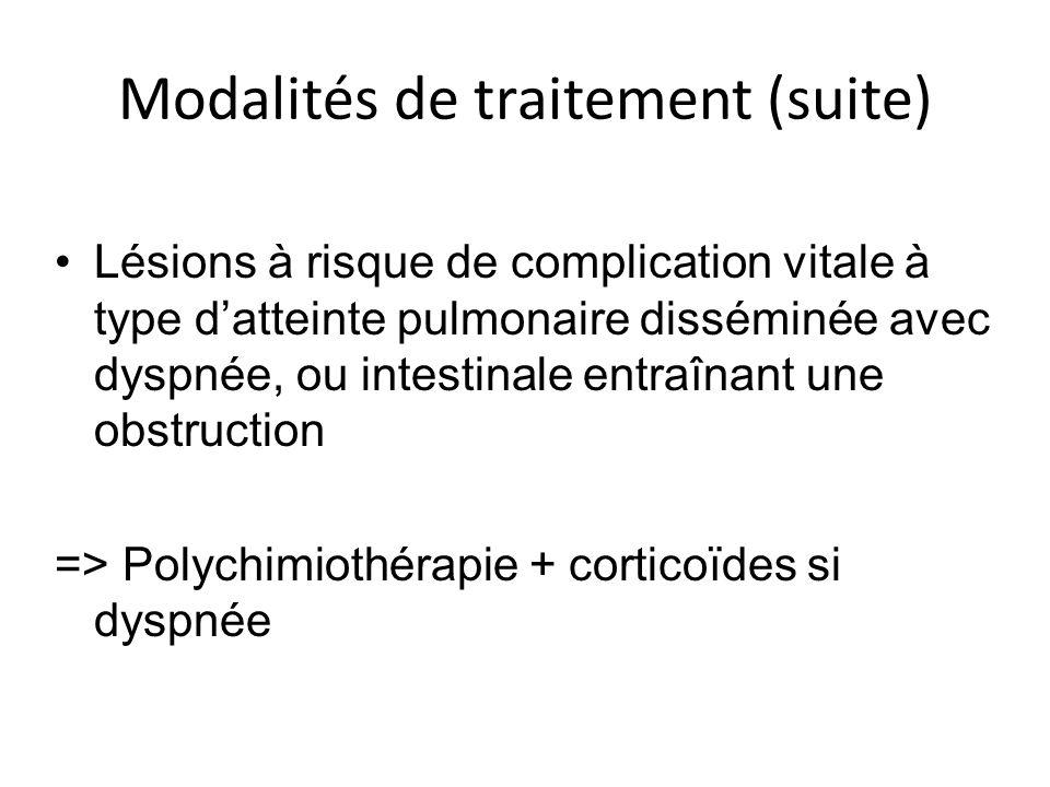 Modalités de traitement (suite)
