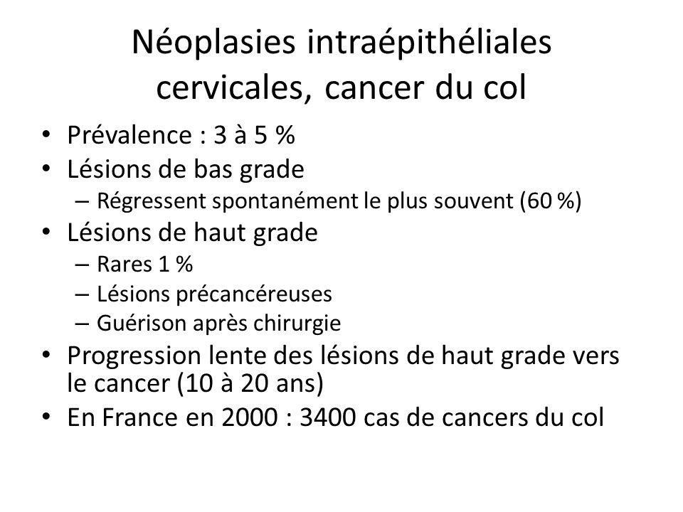 Néoplasies intraépithéliales cervicales, cancer du col