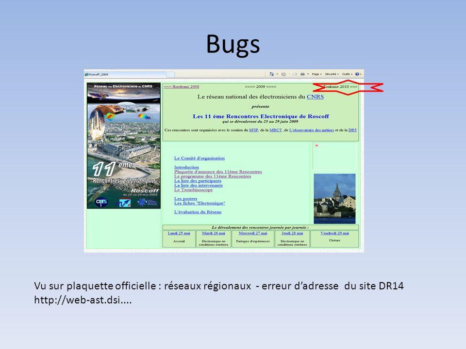 Bugs Vu sur plaquette officielle : réseaux régionaux - erreur d'adresse du site DR14.