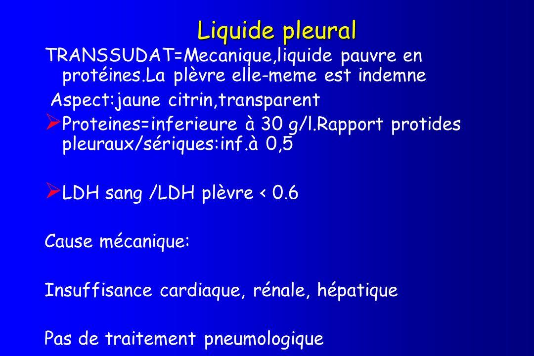Liquide pleural TRANSSUDAT=Mecanique,liquide pauvre en protéines.La plèvre elle-meme est indemne. Aspect:jaune citrin,transparent.