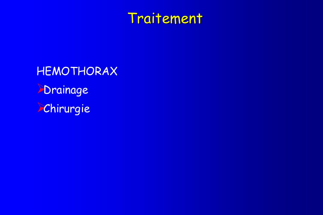 Traitement HEMOTHORAX Drainage Chirurgie