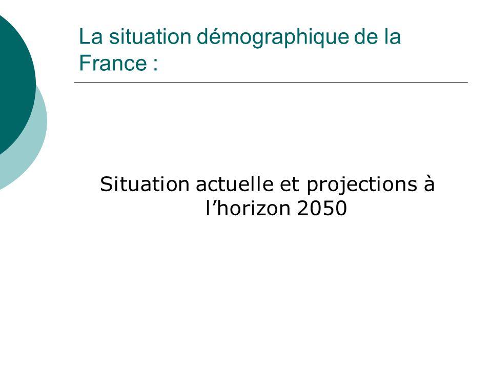 La situation démographique de la France :
